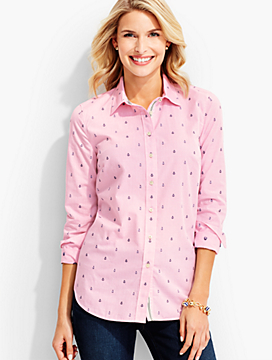 The Classic Casual Shirt-Embroidered Anchors