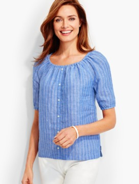 The Linen Scoopneck Shirt - Stripes