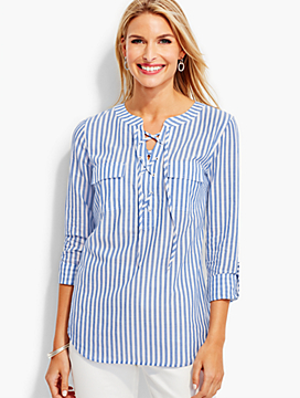 Lace-Up Garden Party Stripes Popover