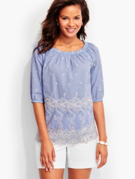 Embroidered-Cutout Popover - Chambray