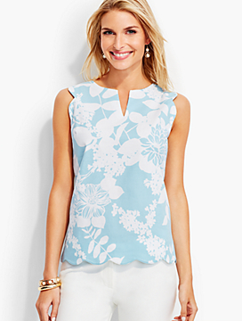 Scalloped Floral Print Top