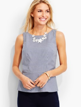 Tailored Gingham Peplum Shell