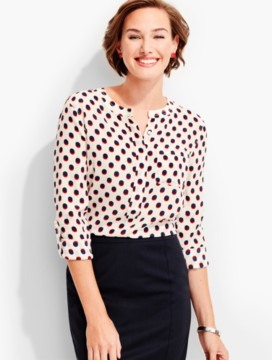 Washable Silk Popover-Shadow Dots
