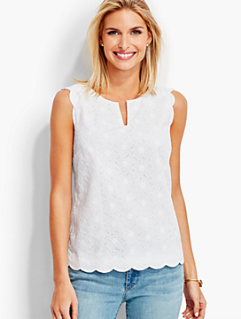 Scalloped Eyelet Top