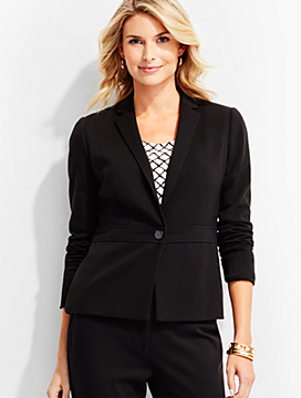 Luxe Italian Knit Single-Button Blazer