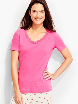 V-Neck Short-Sleeve Lace-Trimmed Tee