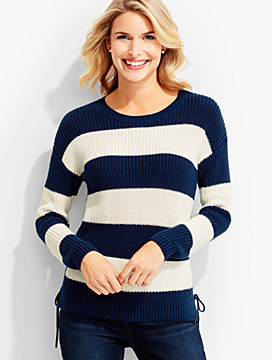 Lace-Side Block Stripe Sweater