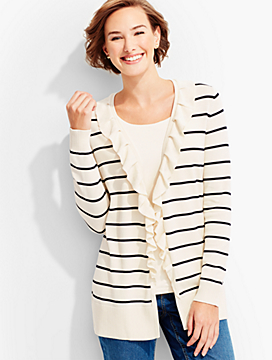 Ruffle-Trim Stripe Cardigan