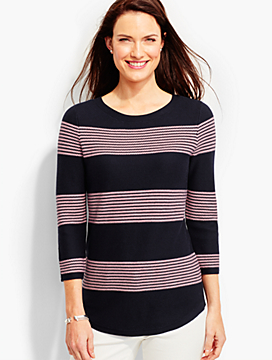 Tuck-Stitched Sweater-Blocked Stripes