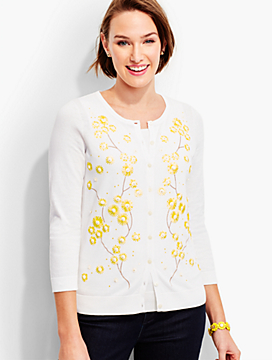 Charming Cardigan-Daisy Embroidered