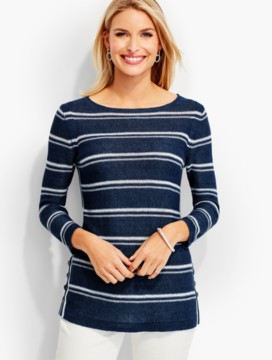 Stripe Side-Button Linen Sweater