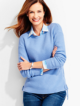 Lace-Side Shaker-Stitched Sweater
