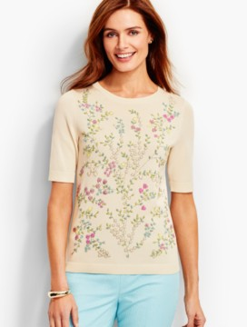 Beaded-Floral Sweater