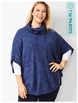 Plus Size Knit Space-Dyed Poncho