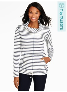 Drawstring Cowlneck-Dot Stripe