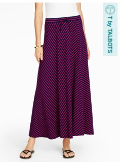 Slub-Knit Maxi Skirt-Chevron Stripes