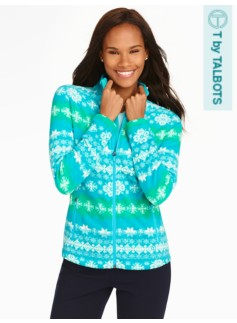 Snowflake Stripes Fleece Jacket