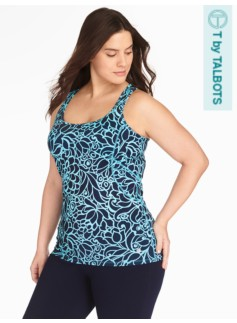 Pro Stretch Racerback Tank - Cactus Bloom Print