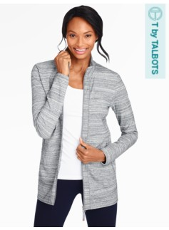Tunic-Length Zip Yoga Jacket-Grey Space-Dyed