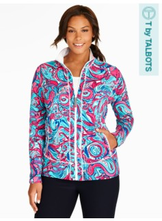 Zip Yoga Jacket-Watercolor Paisley