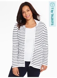 Weekend Terry Hooded Jacket-Stripes