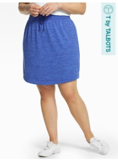 Fluid Knit Drawstring Skirt-Mykonos Blue Marled