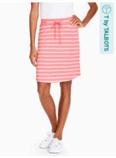 Fluid Knit Drawstring Skirt - Weekend Stripes