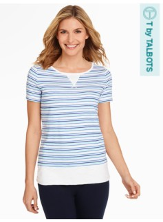 Multi-Stripe Pointelle Top