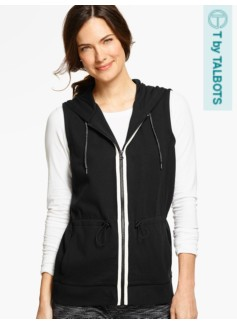 Piqu� Double-Knit Hooded Vest