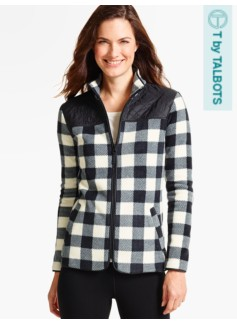 Quilted Mock-Neck Fleece Jacket - Buffalo Check