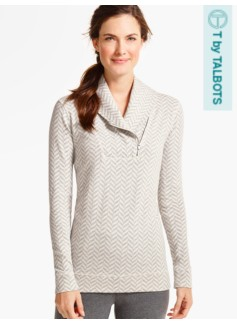 Chevron Shawl-Collar Top