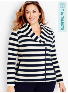 Preppy Stripes Moto Jacket