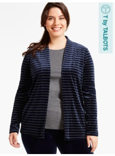 Luxe Velour Flyaway Cardigan - Striped