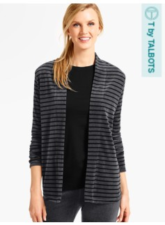 Luxe Velour Flyaway Cardigan-Striped