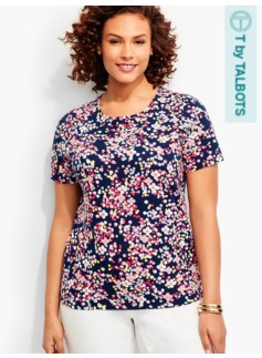 Short-Sleeve Crewneck Tee-Dotted Flowers-The Talbots Tee