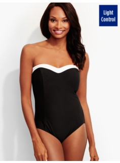 Tipped Sweetheart Bandeau Swimsuit-Miraclesuit®