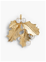 Holiday Brooch Collection - Pearl and Holly