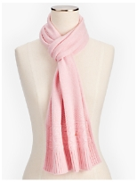 Marled Cashmere Cable Border Scarf
