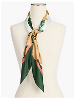 Floral and Birds Silk Scarf