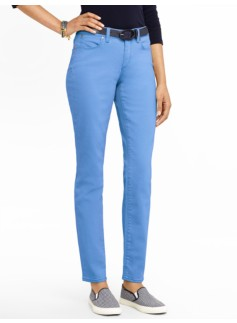Slimming Colored Denim Ankle Jeans - Curvy