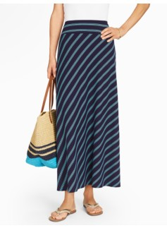 Bias-Stripes Maxi Skirt