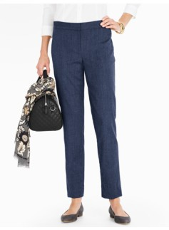 Italian Flannel Elastic-Waist Tailored Ankle Pant