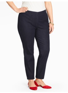 Slimming Side-Zip Denim Ankle Jean - Deep Sea
