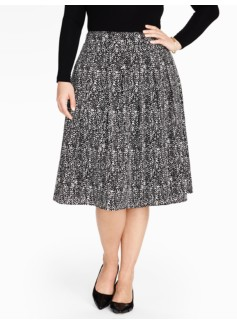 Pleated Abstract Crepe Skirt
