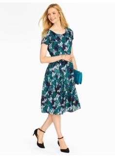 Tonal Feather-Print Crepe Dress