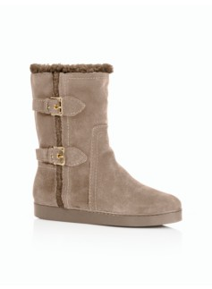 Tippi Silk Suede Buckle Boots