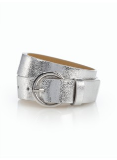 Womans Metallic Round Buckle Leather Belt