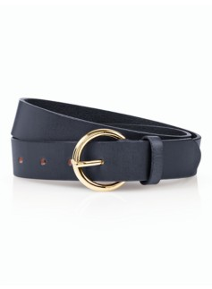 Womans Brass-Buckle Leather Belt