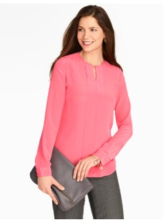 Washable Silk Solid Pintuck-Front Blouse