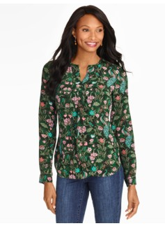 Washable Silk Peacock Print Pintuck-Front Blouse